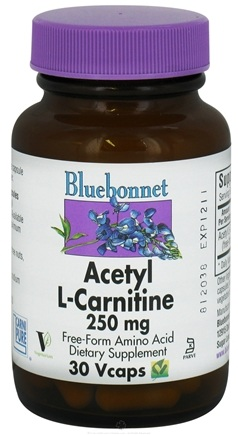 DROPPED: Bluebonnet Nutrition - Acetyl L-Carnitine Free-Form Amino Acid 250 mg. - 30 Vegetarian Capsules CLEARANCE PRICED