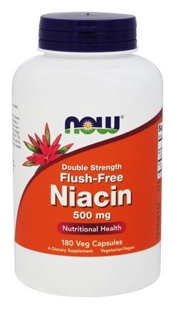 NOW Foods - Niacin Flush-Free Double Strength 500 mg. - 180 Vegetarian Capsules