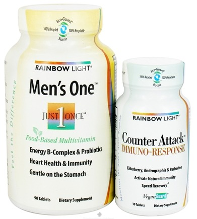 DROPPED: Rainbow Light - Men's One Just Once Multivitamin & Counter Attack Immuno Response Bundle Pack - 90 Tablets + 10 Tablets