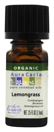Aura Cacia - Essential Oil Organic Lemongrass - 0.25 oz.