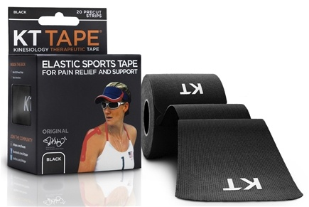 KT Tape - Kinesiology Therapeutic Elastic Athletic Tape Pre-Cut Strips Black - 20 Strip(s)