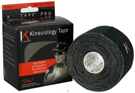 DROPPED: KT Tape - Pro Kinesiology Therapeutic Elastic Athletic Tape Pre-Cut Strips Black - 20 Strip(s)