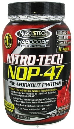 DROPPED: Muscletech Products - Nitro-Tech NOP-47 Hardcore Pro Series Pre-Workout Protein Fruit Punch - 1.6 lbs. CLEARANCE PRICED