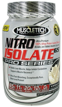 DROPPED: Muscletech Products - Nitro Isolate 65 Pro Series Vanilla - 2.1 lbs. CLEARANCE PRICED
