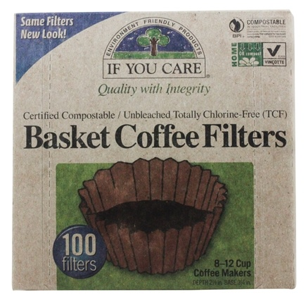 If You Care - Coffee Filters 8 inch Basket Unbleached Totally Chlorine-Free (TCF) - 100 Filter(s)