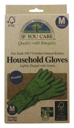 If You Care - Household Gloves Latex Cotton Flock Lined Medium - 1 Pair