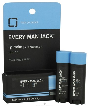 DROPPED: Every Man Jack - Lip Balm Sun Protection Twin Pack 15 SPF - 0.15 oz.