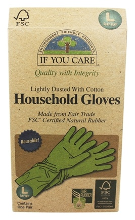 If You Care - Household Gloves Latex Cotton Flock Large - 1 Pair