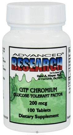 DROPPED: Advanced Research - GTF Chromium Glucose Tolerant Factor 200 mcg. - 100 Tablets CLEARANCE PRICED