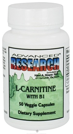 DROPPED: Advanced Research - L-Carnitine with B1 - 50 Vegetarian Capsules CLEARANCE PRICED