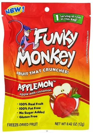 DROPPED: Funky Monkey Snacks - Freeze Dried Fruit Applemon Apple with Cinnamon - 0.42 oz. CLEARANCE PRICED