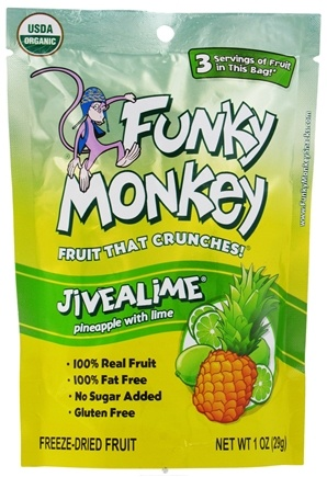 DROPPED: Funky Monkey Snacks - Freeze Dried Fruit Jivealime Pineapple with Lime - 1 oz. CLEARANCE PRICED