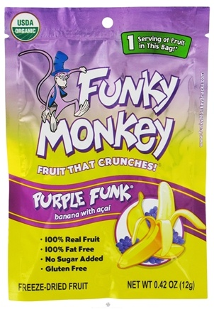 DROPPED: Funky Monkey Snacks - Freeze Dried Fruit Purple Funk Banana with Acai - 0.42 oz. CLEARANCE PRICED