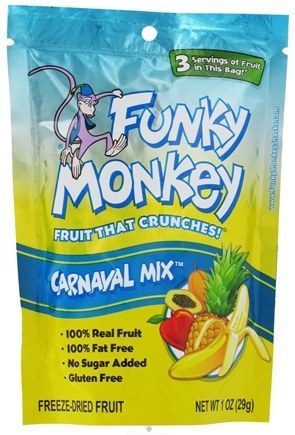 DROPPED: Funky Monkey Snacks - Freeze Dried Fruit Carnaval Mix - 1 oz. CLEARANCE PRICED
