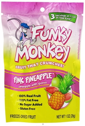 DROPPED: Funky Monkey Snacks - Freeze Dried Fruit Pink Pineapple Pineapple with Guava - 1 oz.