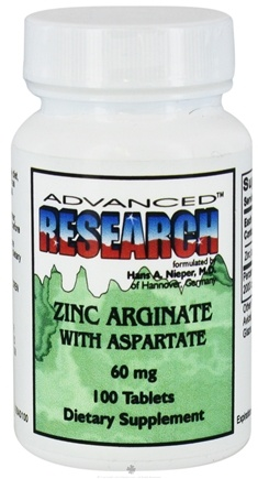 DROPPED: Advanced Research - Zinc Arginate with Aspartate 60 mg. - 100 Tablets CLEARANCE PRICED