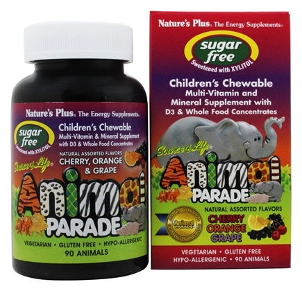 Nature's Plus - Source Of Life Animal Parade Children's Multi-Vitamin and Mineral Assorted Cherry, Orange & Grape - 90 Chewable Tablets