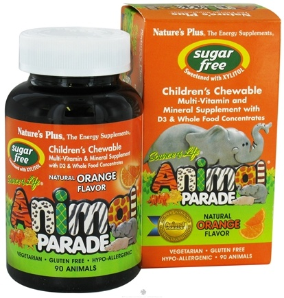 DROPPED: Nature's Plus - Source Of Life Animal Parade Children's Multi-Vitamin and Mineral Natural Orange Flavor - 90 Chewable Tablets