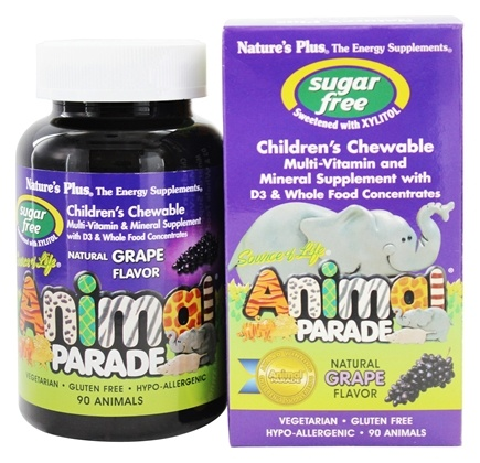 Nature's Plus - Source Of Life Animal Parade Children's Multi-Vitamin and Mineral Natural Grape Flavor - 90 Chewable Tablets