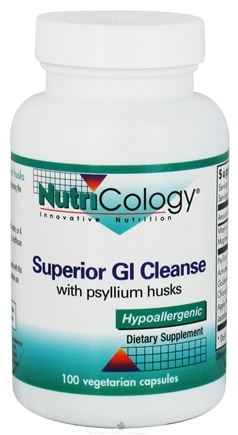 DROPPED: Nutricology - Superior GI Cleanse with Psyllium Husks - 100 Vegetarian Capsules CLEARANCE PRICED