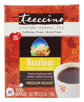 Teeccino - Chicory Herbal Tea 75% Organic Hazelnut - 10 Tea Bags
