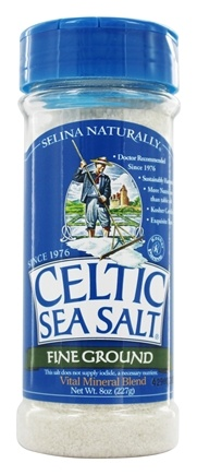 Selina Naturally - Celtic Sea Salt Shaker Jar Fine Ground - 8 oz.