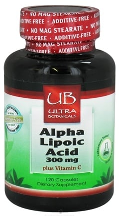 DROPPED: Ultra Botanicals - Alpha Lipoic Acid plus Vitamin C 300 mg. - 120 Capsules CLEARANCE PRICED