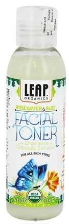 DROPPED: LEAP Organics - Facial Toner For All Skin Types Rosewater & Aloe - 4 oz. CLEARANCE PRICED