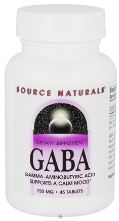 DROPPED: Source Naturals - GABA Gamma-Aminobutyric Acid 750 mg. - 45 Tablets