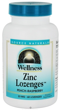 DROPPED: Source Naturals - Wellness Zinc Lozenges Peach-Raspberry 23 mg. - 60 Lozenges CLEARANCE PRICED