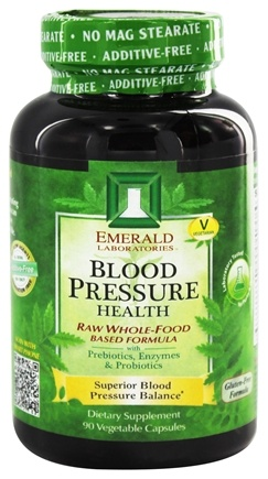Emerald Labs - Blood Pressure Health Raw Whole-Food Based Formula - 90 Vegetarian Capsules