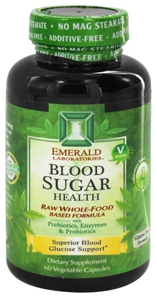 Emerald Labs - Blood Sugar Health Raw Whole-Food Based Formula - 60 Vegetarian Capsules