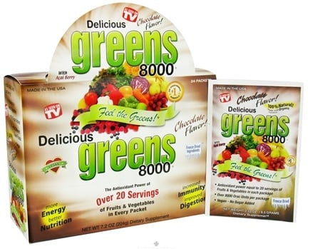 DROPPED: Greens World - Delicious Greens 8000 Chocolate - 24 Packet(s) CLEARANCE PRICED