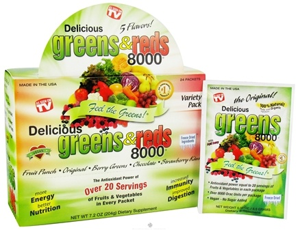 DROPPED: Greens World - Delicious Greens & Reds 8000 Variety Pack - 24 Packet(s)