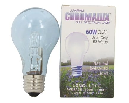 Lumiram - Chromalux A19 60W Clear Light Bulb Full Spectrum Lamp