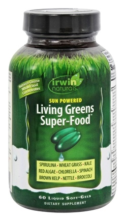 Irwin Naturals - Sun Powered Living Greens Super-Food - 60 Softgels Formerly Nutrient-Dense Greens & Greens Phyto-Food Energy