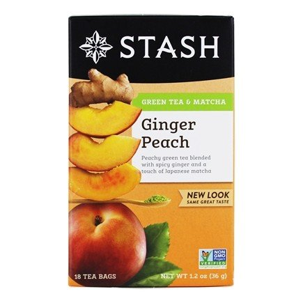 Stash Tea - Premium Ginger Peach Green Tea with Matcha - 18 Tea Bags