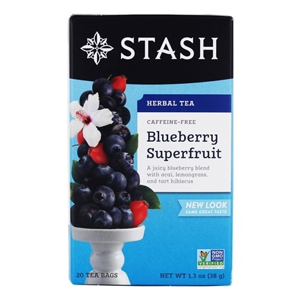 Stash Tea - Premium Caffeine Free Herbal Tea Blueberry Superfruit - 20 Tea Bags