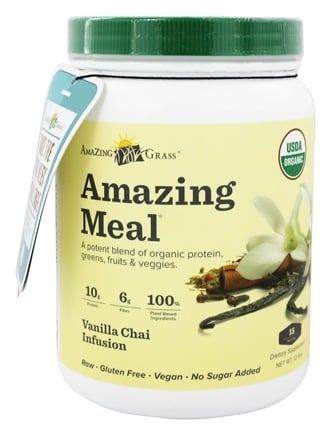 Amazing Grass - Amazing Meal Powder 15 Servings Vanilla Chai Infusion - 12.4 oz.