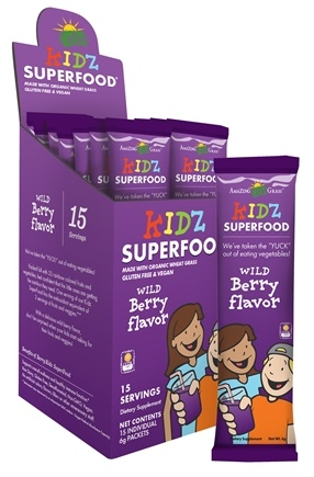 DROPPED: Amazing Grass - Kidz SuperFood Powder Wild Berry - 15 Packet(s) CLEARANCE PRICED
