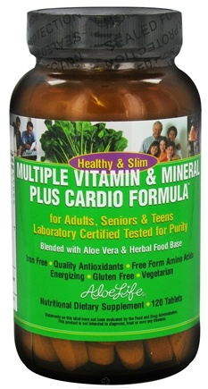 DROPPED: Aloe Life - Healthy & Slim Multiple Vitamin & Mineral Plus Cardio Formula - 120 Tablets CLEARANCE PRICED