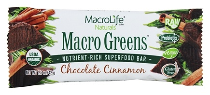 DROPPED: MacroLife Naturals - Macro Greens Nutrient-Rich Superfood Bar Chocolate Cinnamon - 1.5 oz.
