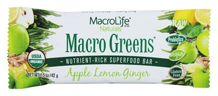 DROPPED: MacroLife Naturals - Macro Greens Nutrient-Rich Superfood Bar Apple Lemon Ginger - 1.5 oz.
