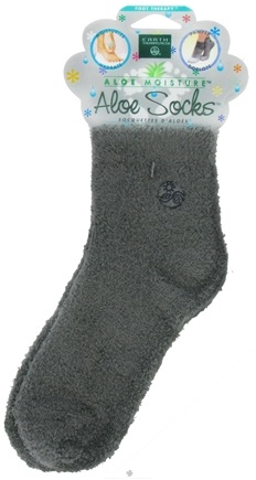 DROPPED: Earth Therapeutics - Aloe Socks Foot Therapy To Pamper & Moisturize Grey - 1 Pair CLEARANCE PRICED
