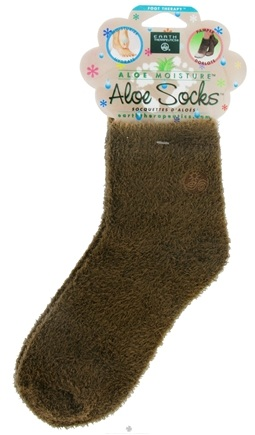DROPPED: Earth Therapeutics - Aloe Socks Foot Therapy To Pamper & Moisturize Brown - 1 Pair CLEARANCE PRICED