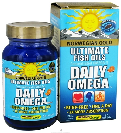 DROPPED: ReNew Life - Norwegian Gold Ultimate Fish Oils Concentrated Omega-3 Daily Omega Natural Orange Flavor 1200 mg. - 30 Fish Softgel(s) CLEARANCE PRICED