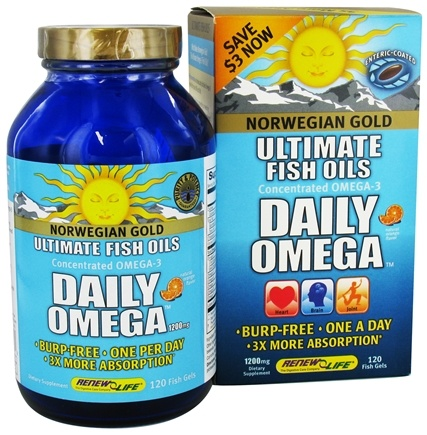 DROPPED: ReNew Life - Norwegian Gold Ultimate Fish Oils Concentrated Omega-3 Daily Omega Natural Orange Flavor 1200 mg. - 120 Fish Softgel(s)
