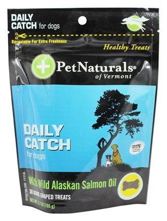 DROPPED: Pet Naturals of Vermont - Daily Catch for Dogs with Wild Alaskan Salmon Oil - 30 Bone-Shaped Treats
