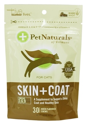 Pet Naturals of Vermont - Skin and Coat Support For Cats Duck Flavored - 30 Chews