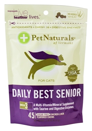 DROPPED: Pet Naturals of Vermont - Daily Best Senior For Cats Chicken Liver Flavored - 45 Chews
